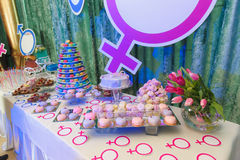 Party with macaroon tower and cakes Royalty Free Stock Photos