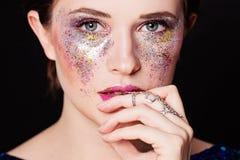 Party Makeup. Closeup Portrait of Cute Woman Stock Images