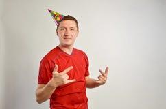 Party man closeup portrait stock images