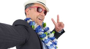 Executive pose for the photo. Selfie. He is wearing suit, Hawaii royalty free stock photo