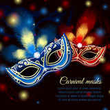 Party mask background. Venetian carnival mardi gras colorful party mask on dark sparkling background vector illustration