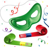 Party mask and blowers Stock Images