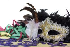 Party mask, confetti and serpentines. Carvival theme concept.  stock image
