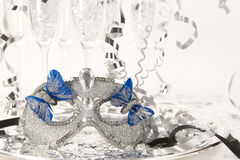 Party Mask on Silver Tray Stock Photography