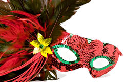 Party masks. Isolated shot of a brightly colored masquerade or mardi gras mask Royalty Free Stock Images