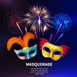 Party Masquerade Fireworks Background. Fireworks background composition with editable text and realistic images of two colourful carnival masks with feathers Stock Image