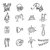 Party and meeting doodle icons set Royalty Free Stock Images