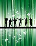 Party mit grünem Hintergrund Stockfoto