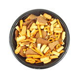 Party mix in black bowl Royalty Free Stock Image
