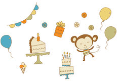 Party Monkey. Cute kids party illustrations. Easy to change colors. Vector Illustrations stock illustration