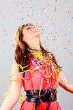 Party a mulher do confetti da dança fotografia de stock royalty free