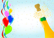 Party. Multi coloured balloons, confetti and streamers and a champagne bottle Royalty Free Stock Image