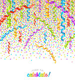 Party multicolor confetti and streamers Royalty Free Stock Photos