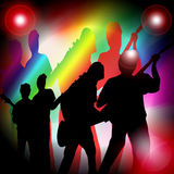 Party music. A computer generated image showing 4 musicians playing music in an area with coloured flare spotlights Royalty Free Stock Images