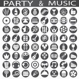 Party and music icons. On a white background in circles Royalty Free Stock Images