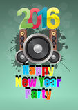 2016 party music. Illustration of 2016 happy new year party with loudspeacker vector illustration