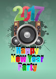 2017 party music. Illustration of 2017 happy new year party with loudspeaker Royalty Free Stock Photography