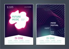 Party music posters design. Future electronic sound. Modern art style. Dance festival. Modern music festival. Danse party posters design. Future electronic sound Royalty Free Stock Images