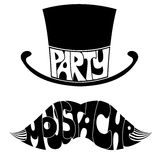 Party Mustache and hat with text. Royalty Free Stock Photo