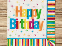 Party napkin with the title happy birthday. Stock Photography