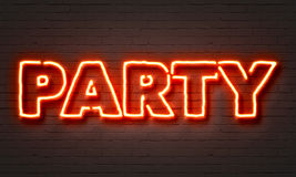 Party neon sign. On brick wall background stock illustration