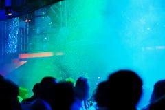 A party in a night club with falling snow Royalty Free Stock Image