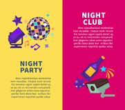 Party at night club promotional vertical posters set. Party at nightclub promotional vertical posters set. Disco ball, bright spotlight, bottle of champagne and Royalty Free Stock Photography