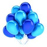 Party o azul dos balões, aniversário, decoração do carnaval lustrosa Ilustração Stock
