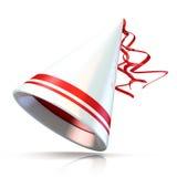 Party o chapéu, chapéu branco com as duas listras vermelhas Fotografia de Stock Royalty Free