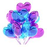 Party o coração colorido translúcido azul roxo dos balões dado forma Ilustração Stock