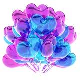 Party o coração colorido violeta azul roxo dos balões dado forma Ilustração Royalty Free
