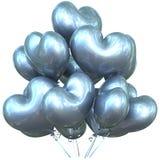Party o coração da prata da decoração do evento do feliz aniversario dos balões dado forma Imagem de Stock Royalty Free
