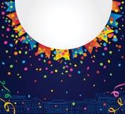 Party o fundo com espaço branco para o texto com confetes e as bandeiras coloridas ao redor Imagem de Stock Royalty Free