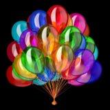 Party o grupo colorido do balão do hélio do aniversário dos balões multicolorido Ilustração Royalty Free