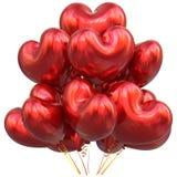 Party o vermelho dado forma coração da decoração do feliz aniversario dos balões Imagem de Stock Royalty Free