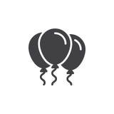 Party o vetor do ícone dos balões, sinal liso enchido, pictograma contínuo isolado no branco ilustração stock
