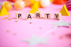 Party objects. Festive. Party objects on a pink background Royalty Free Stock Photography