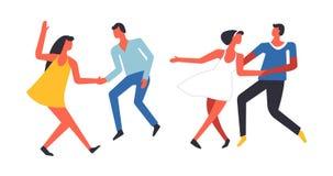 Party os povos que têm o divertimento e que dançam o vetor junto isolado ilustração do vetor