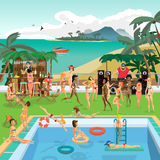 Party outdoor swimming pool on the beach in the tropics Royalty Free Stock Image