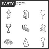 Party outline isometric icons set Royalty Free Stock Photo