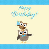 Party owls blue card Royalty Free Stock Photo