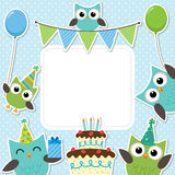 Party owls blue card Stock Photos