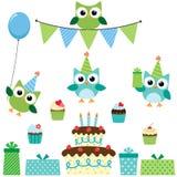 Party owls blue set Stock Image