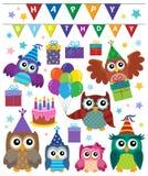 Party owls theme set 1 Stock Image