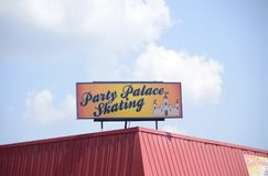Party Palace Skating Ring Sign, Marion Arkansas Stock Photography
