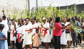 PARTY PALM THE CATHOLIC CHURCH. Picture African Christian Catholic priests with all branches in their hands walking to celebrate the feast of boughs stock image