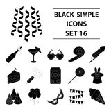 Party And Parties set collection icons in black style vector symbol. Firecrackers, cake items for the holiday.Party And Parties set collection icons in black Royalty Free Stock Photo
