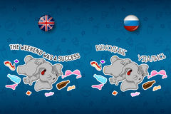 Party. After party. Disorder. Stag party. Elephant. Big set of stickers in English and Russian languages. Vector, cartoon Stock Photography