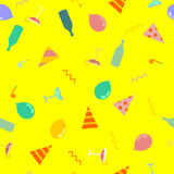 Party pattern. Celebratory cap and Party horn. balloon and bottl Royalty Free Stock Photo