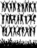 Party people. Large collection of silhouettes of party people and crowd Royalty Free Stock Photography